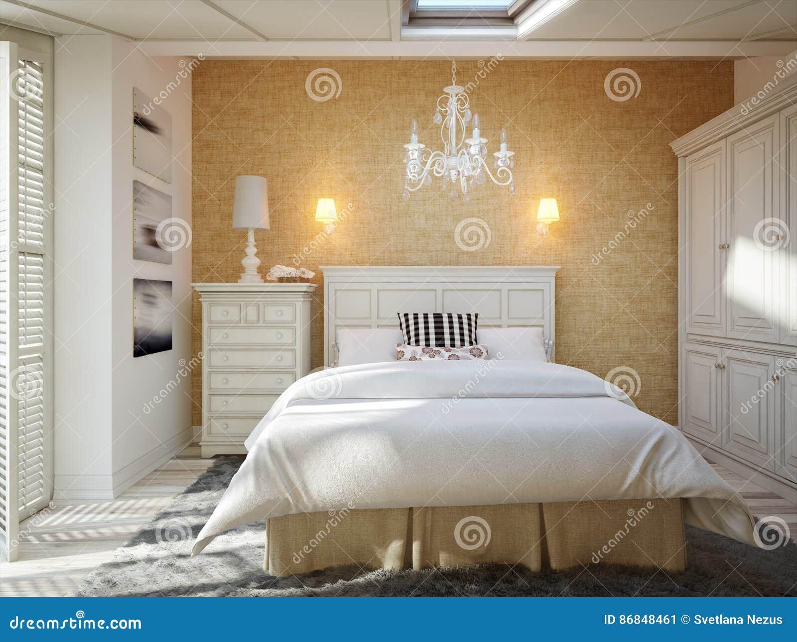 Camere Da Letto Tradizionali : Interior design della camera da letto in soffitta della casa