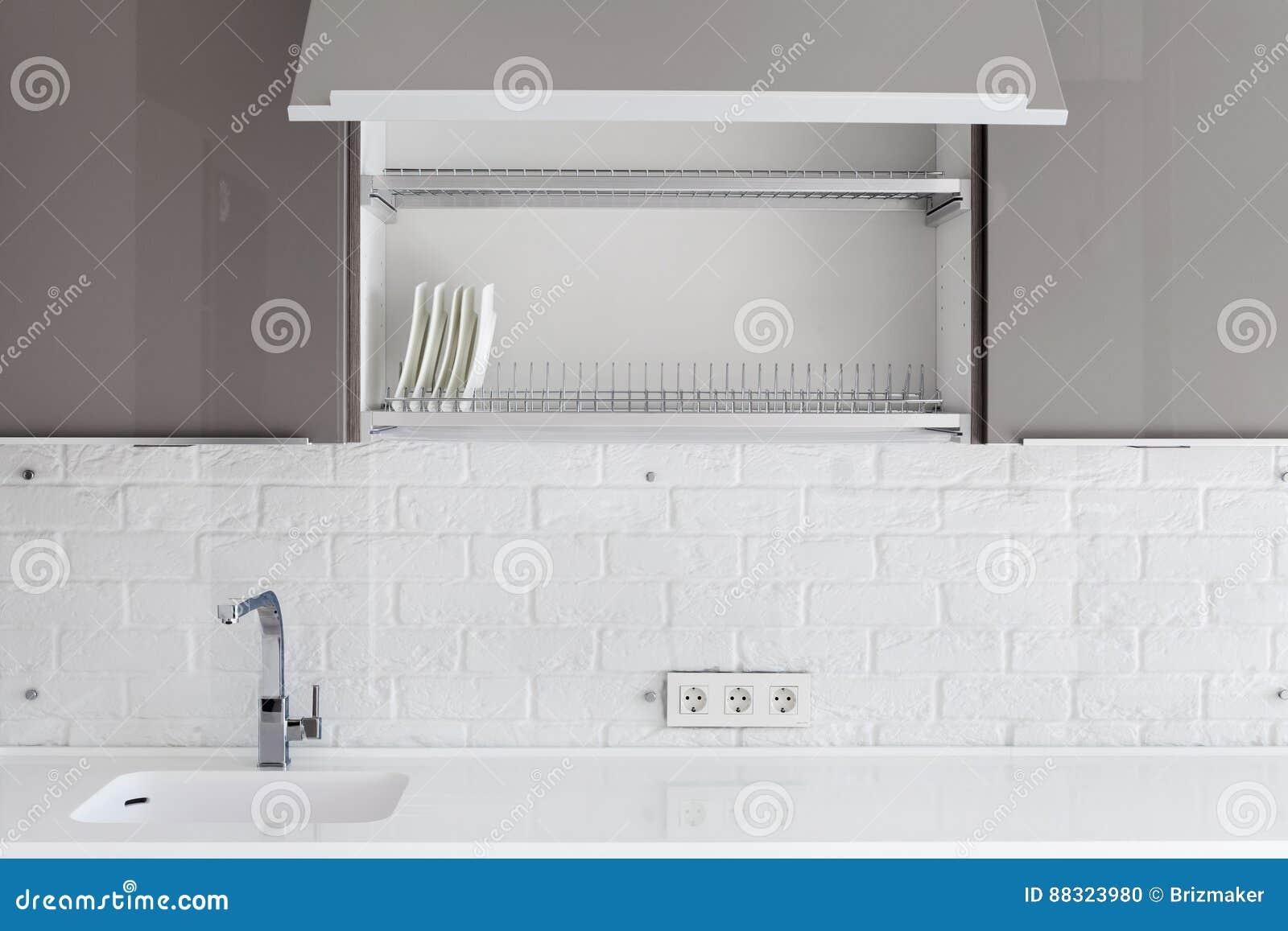 Interior Design Della Cucina Bianca E Nera Moderna Pulita Con L ...