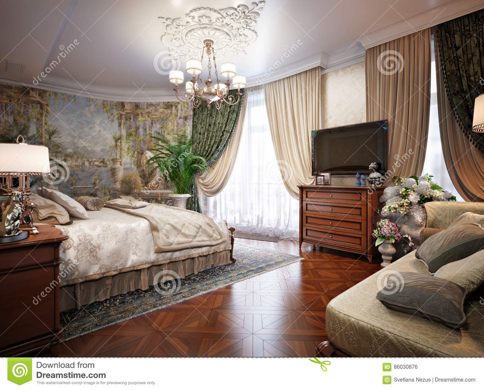 Letti Classici Di Lusso : Interior design di lusso della camera da letto nello stile