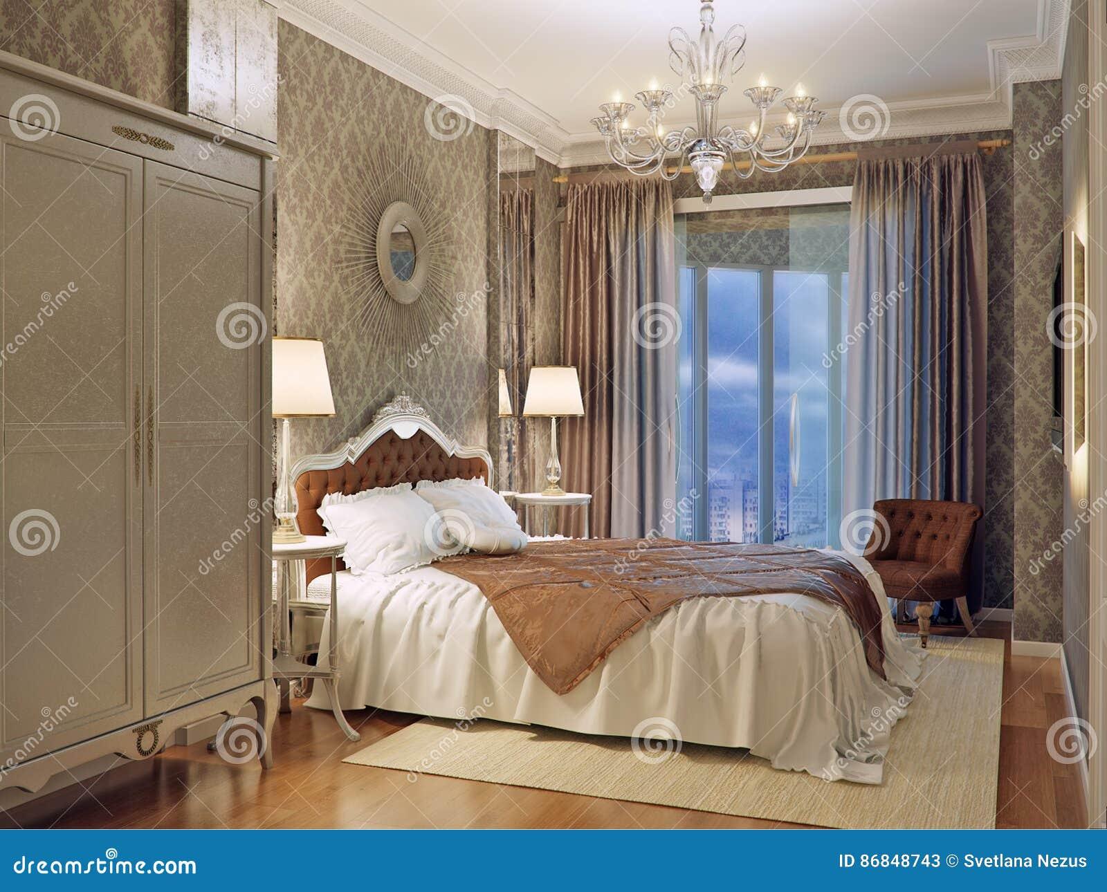 Interior Design Di Lusso Della Camera Da Letto Nello Stile Classico ...