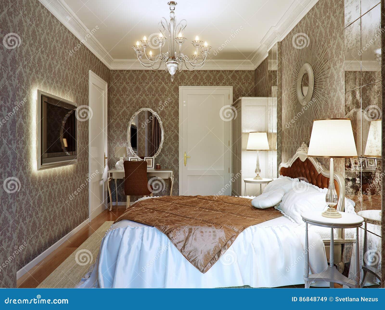 Interior design di lusso della camera da letto nello stile - Camera da letto stile classico ...