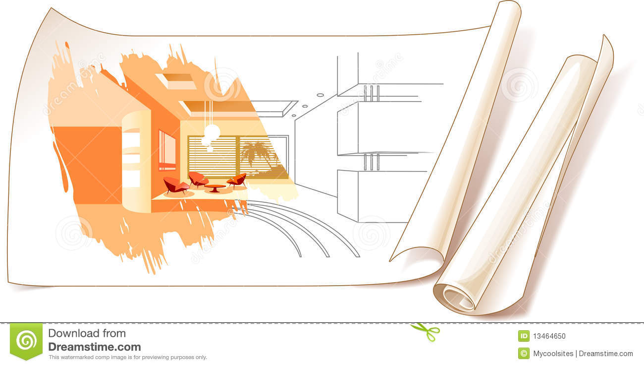 Interior design drawings stock photo image 13464650 for Graphic design interior design