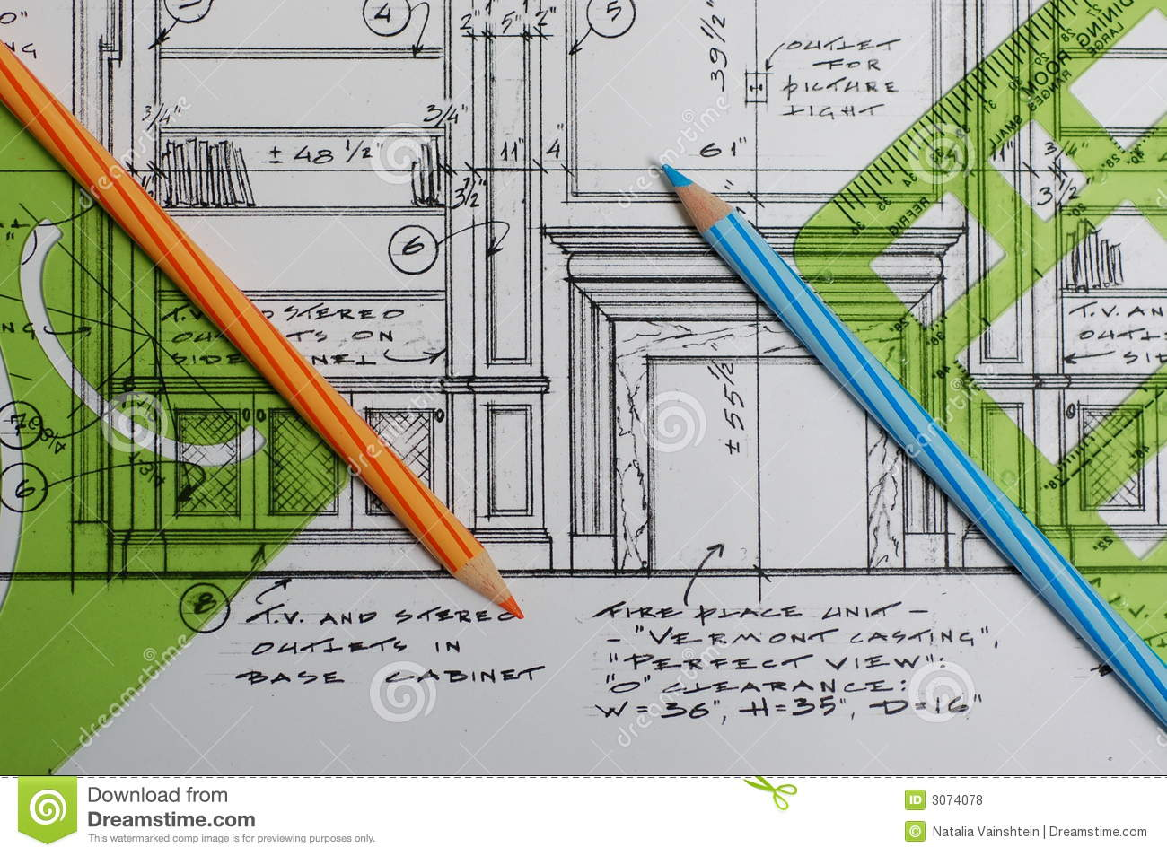 Interior Designers Drawings interior design drawings stock image - image: 3371721