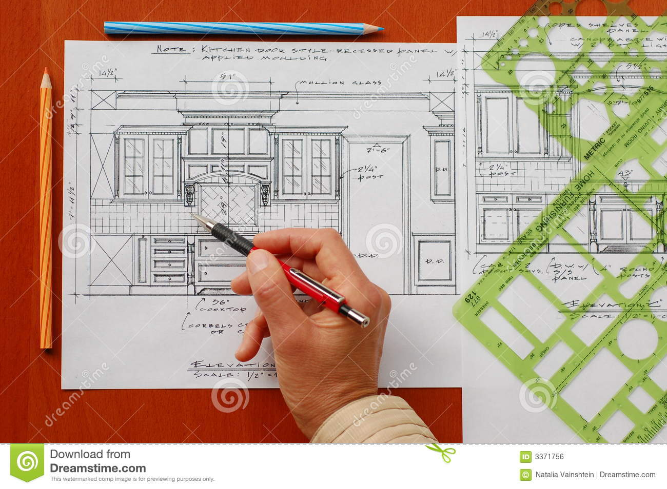 Interior Design Drawings Stock Photo Image Of Building 3371756