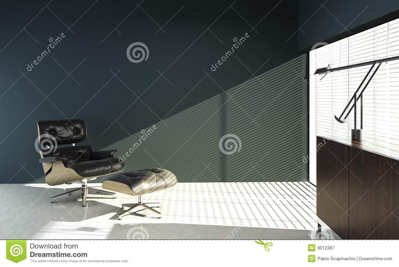Interior design of eames chair on blue wall stock illustration