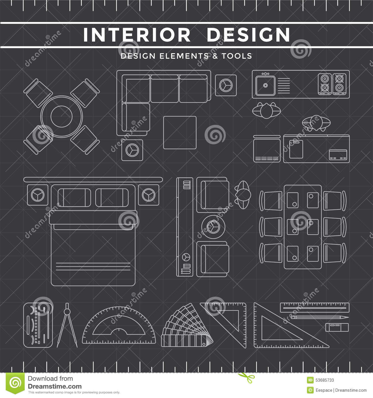 Background dark design equipment icon interior layout line for Interior design tools