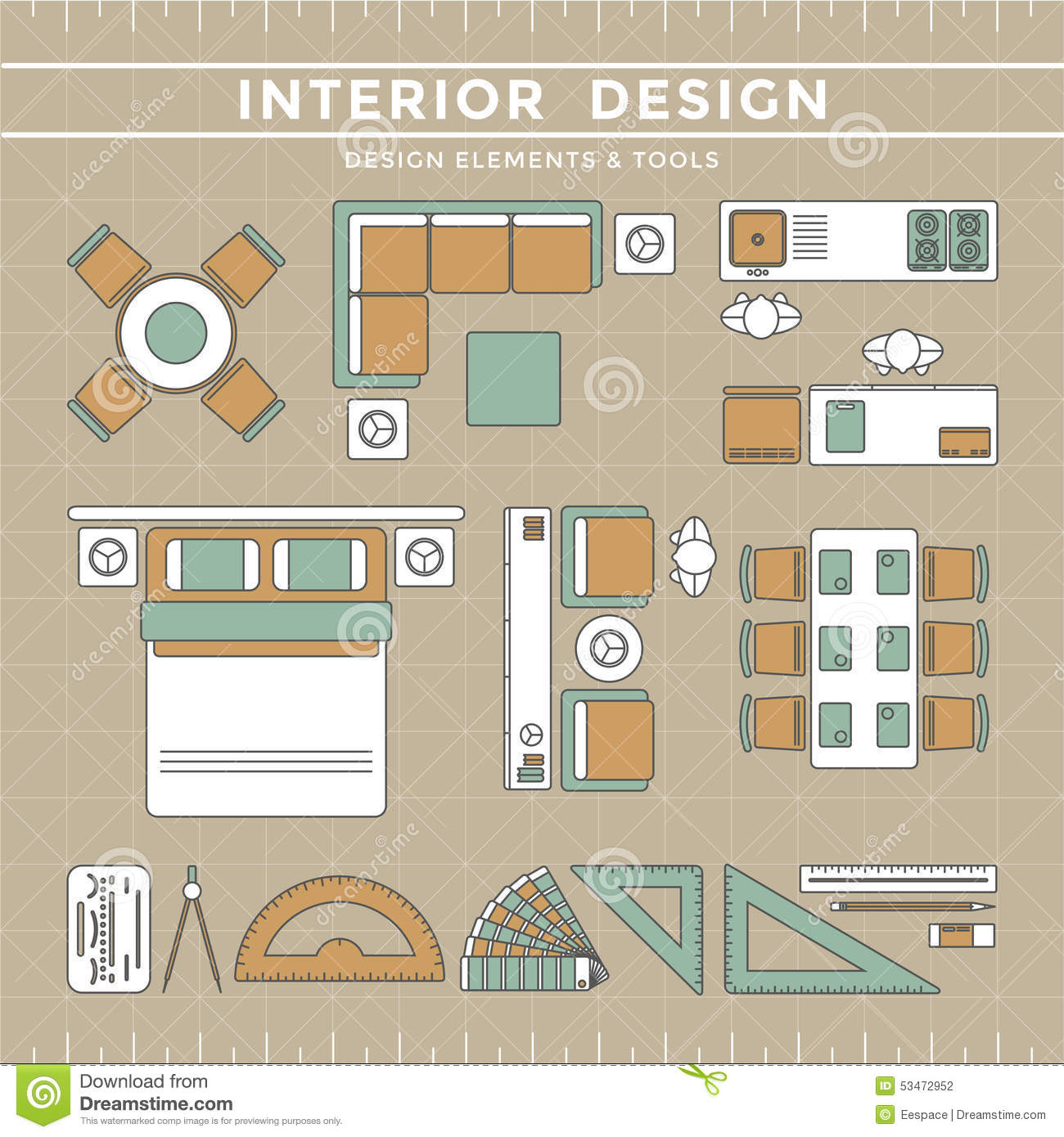 Interior design layout tools stock vector image 53472952 for Elements of interior design