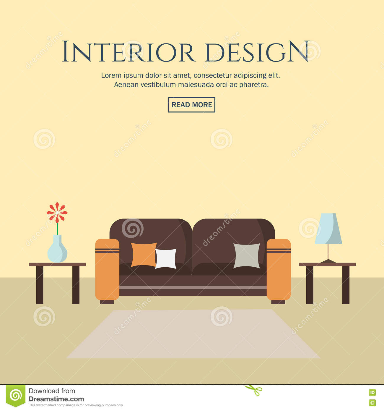Interior design flat style concept set stock vector for Interior design images vector