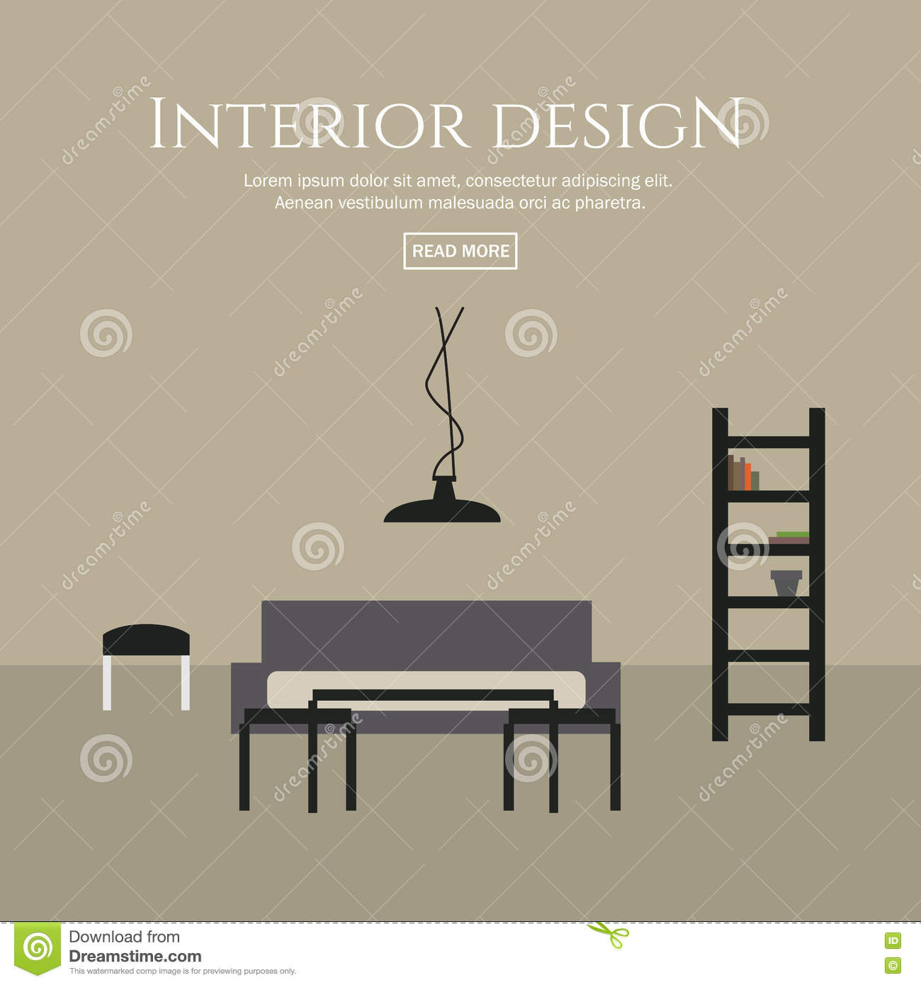 Interior Design Flat Style Concept Set Stock Vector