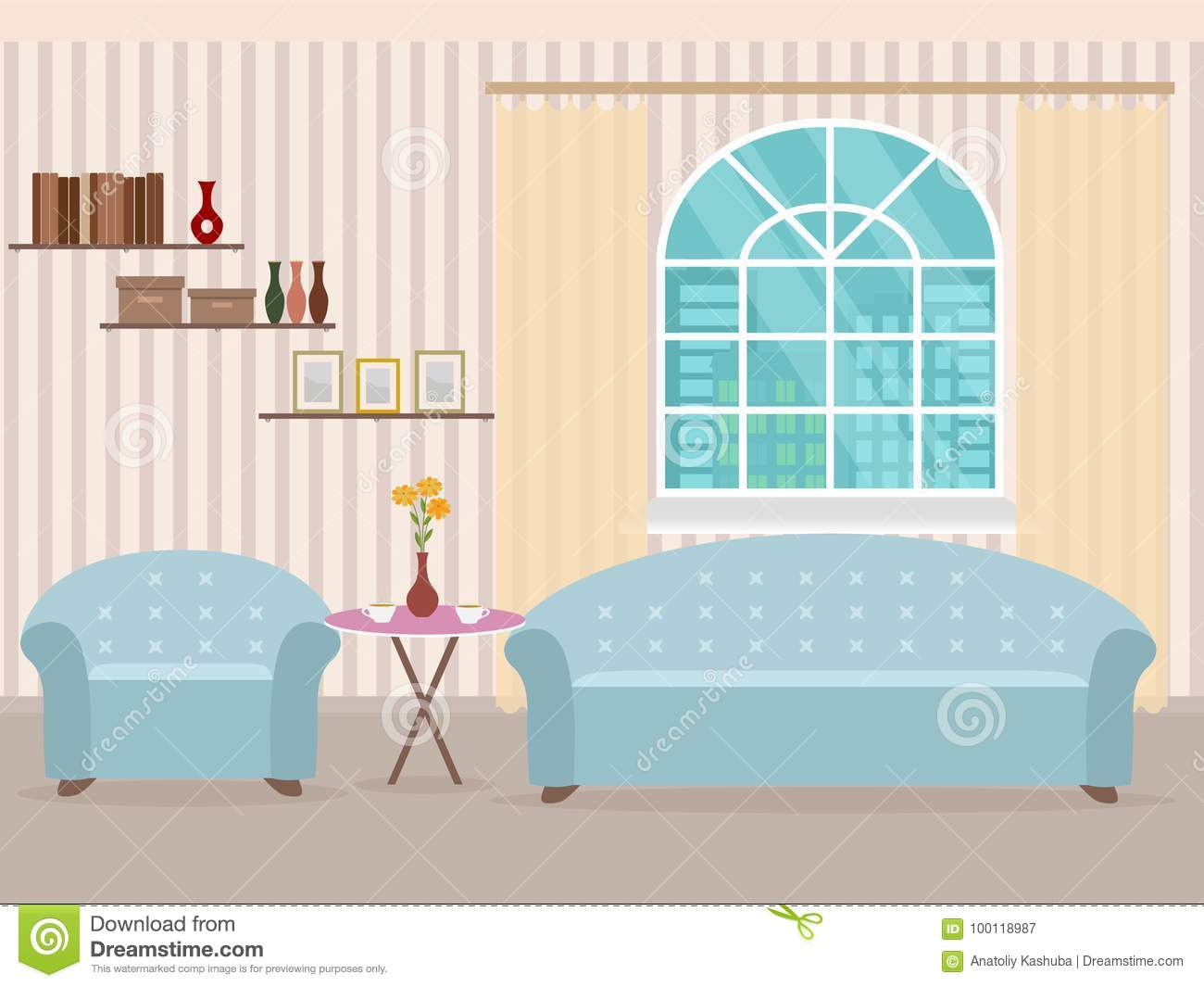 Interior design in flat style of living room with furniture, sofa, table, bookshelf, flower, armchair and window.