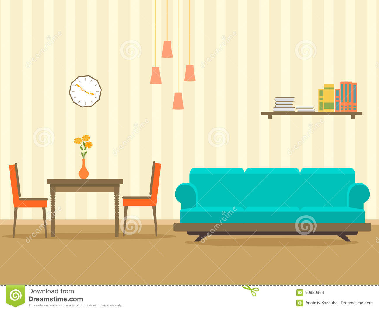 Interior design in flat style of living room with furniture, sofa, , table, bookshelf, flower, lamp and clock.