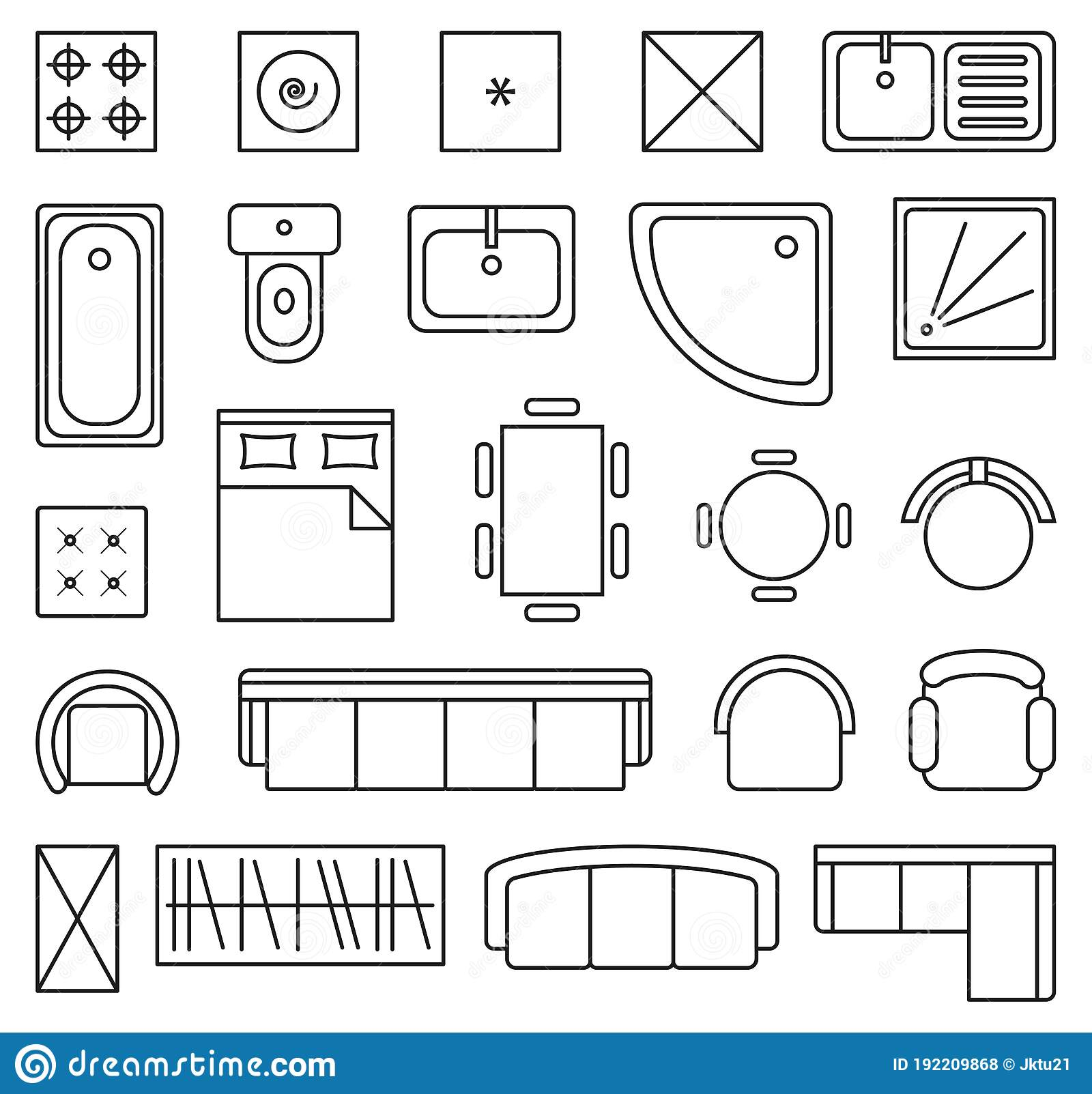 Furniture Outline Plan Icons Stock Illustrations 546 Furniture Outline Plan Icons Stock Illustrations Vectors Clipart Dreamstime