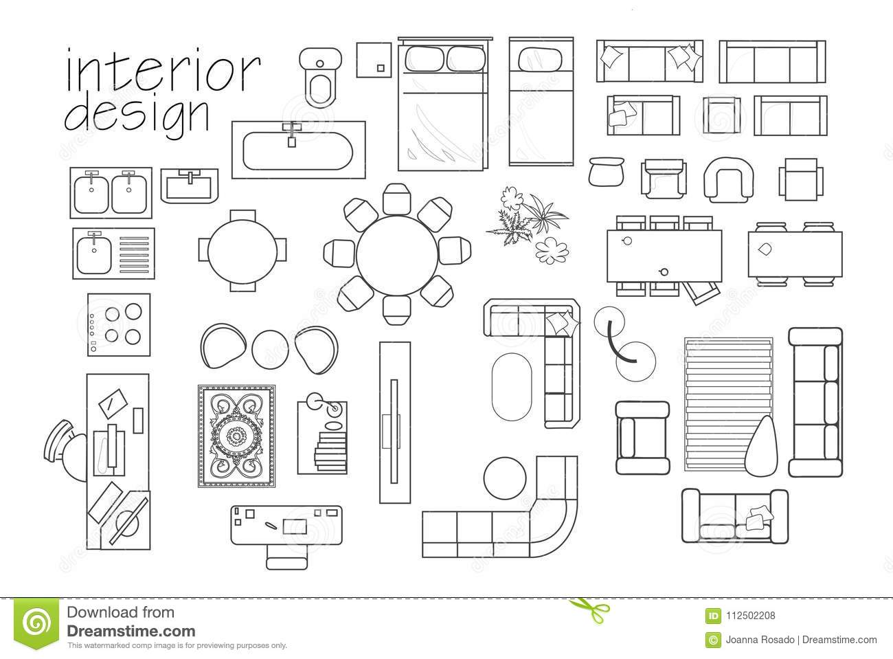 Interior design floor plan symbols top view furniture cad symbol