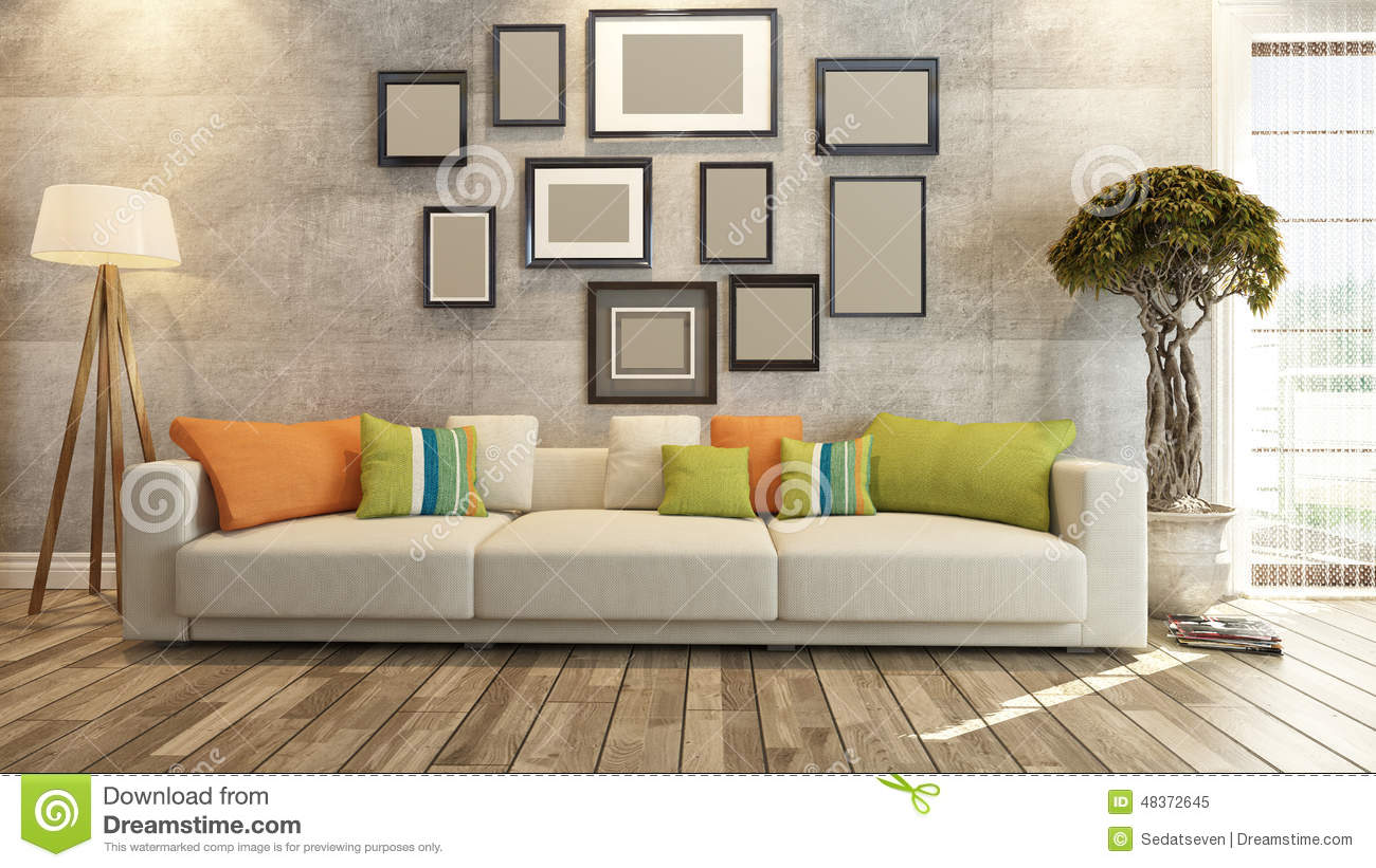 Interior design with frames on concrete wall 3d rendering for Drawing room interior design photos