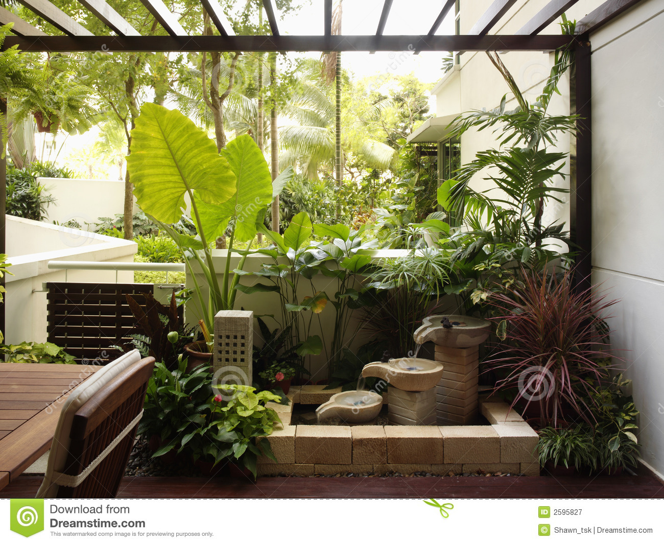 Interior design garden stock image image of wall for Espace jardin zen