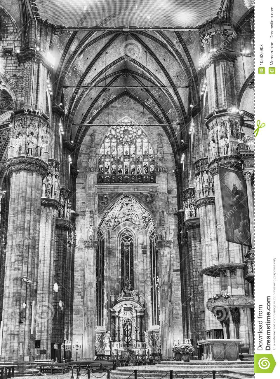 Download Interior Design Of The Gothic Cathedral Milan Italy Editorial Stock Photo