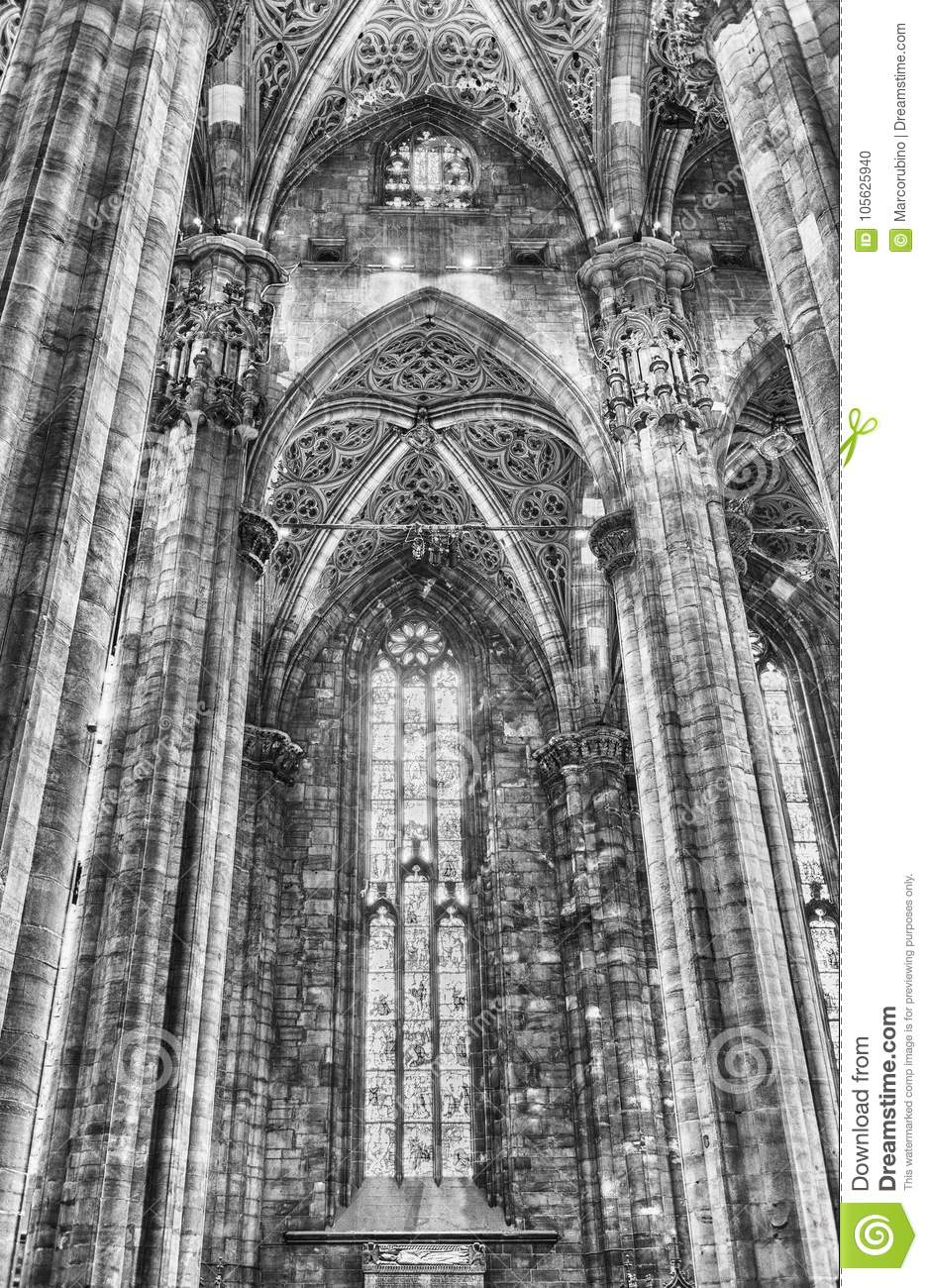 Interior Design Of The Gothic Cathedral Milan Italy Editorial