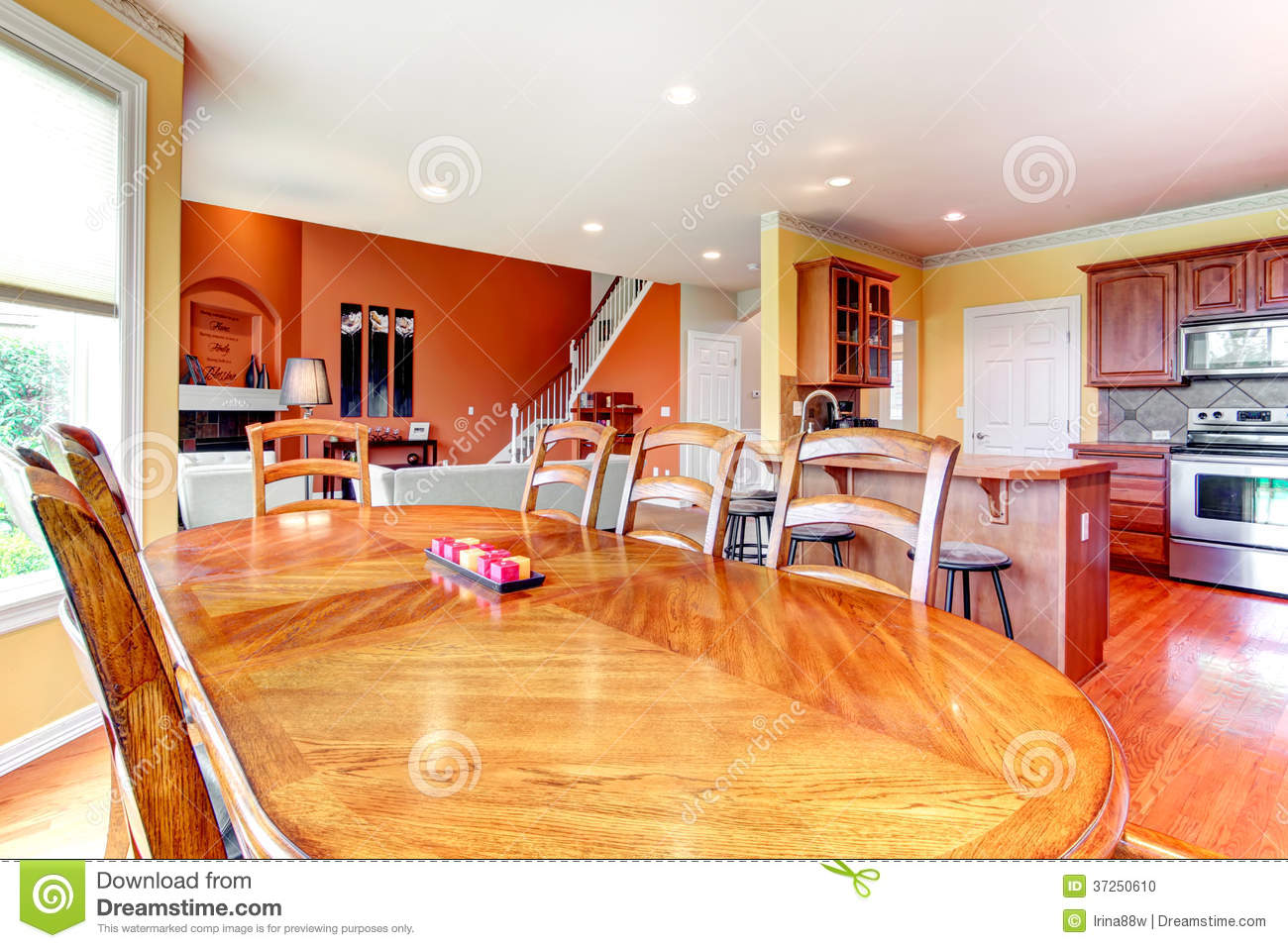Orange Painted Kitchen Walls