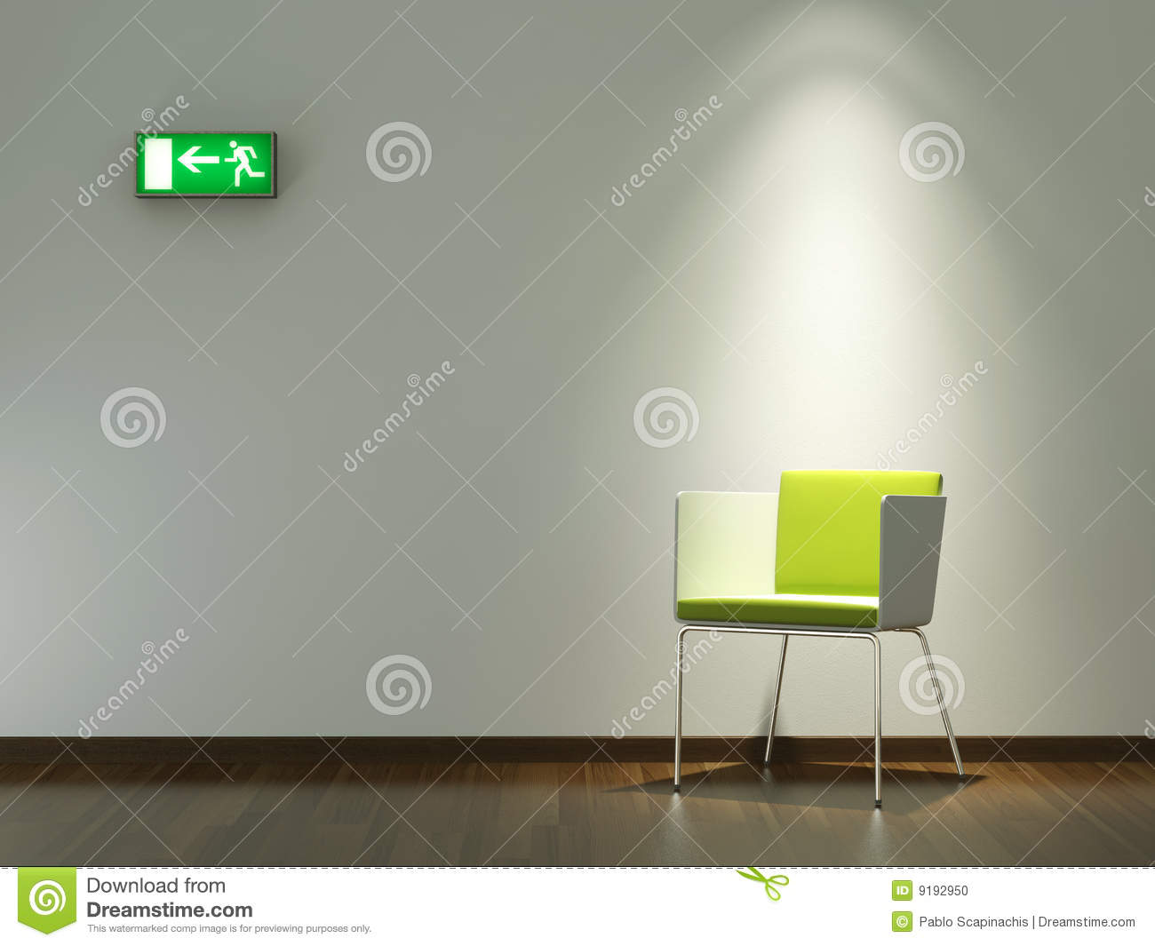 Interior Design Green Chair On White Wall Stock Photo
