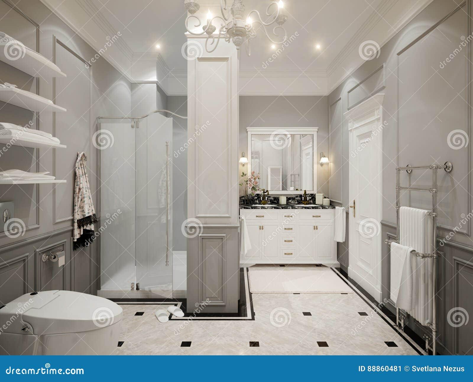Interior design grigio classico del bagno illustrazione di stock