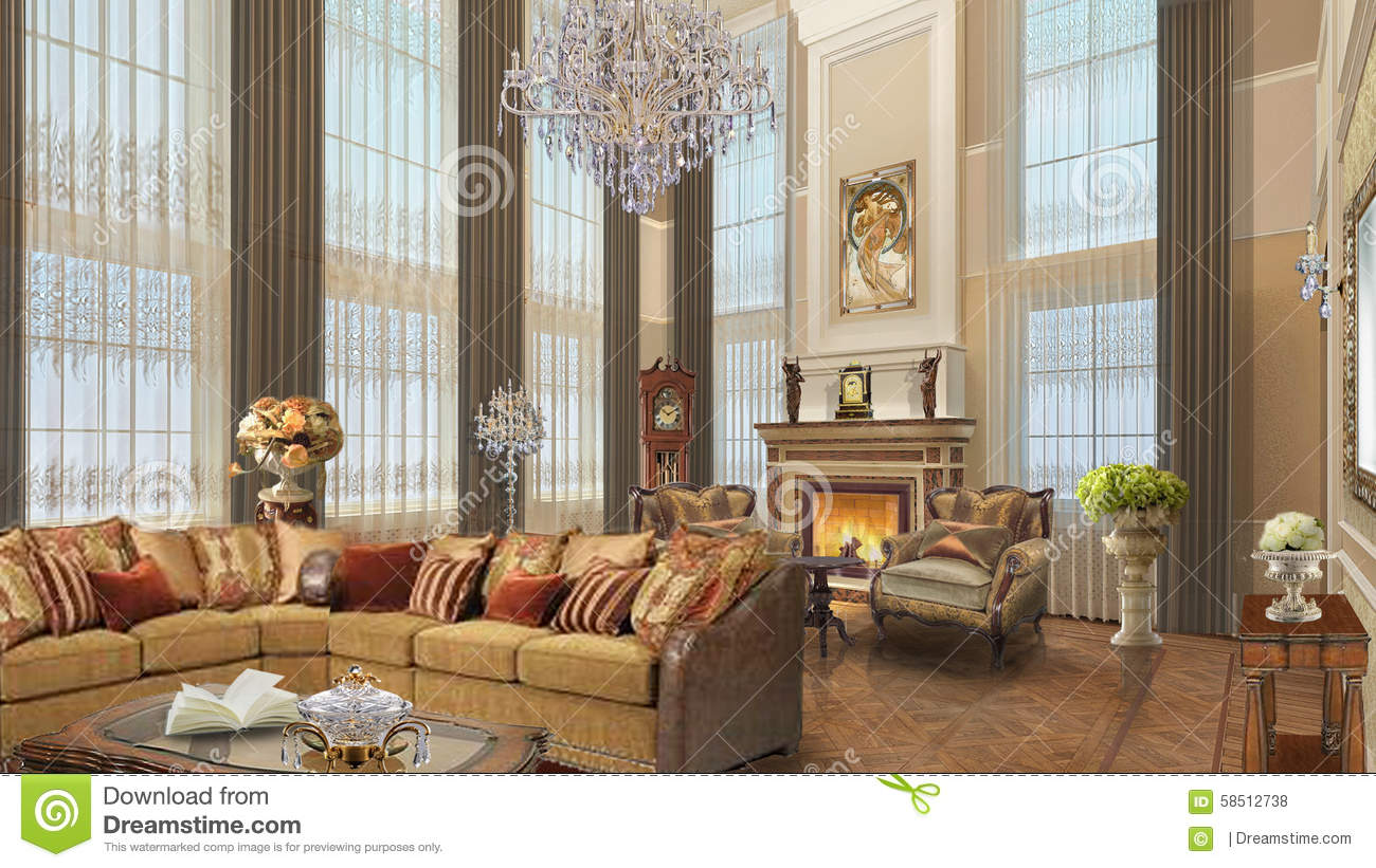 Interior Design Project Furniture Styles ~ The design of a private house in mountainous area stock