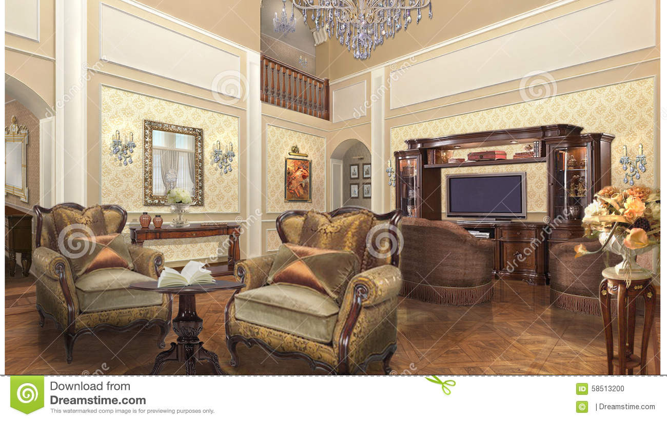 Private home project design interior classic style stock for Classic house interior