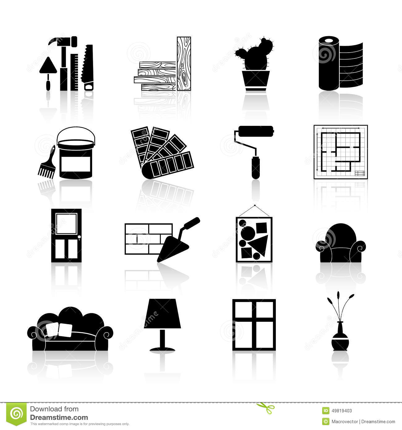 Interior Design Icons Black Stock Vector Image 49819403