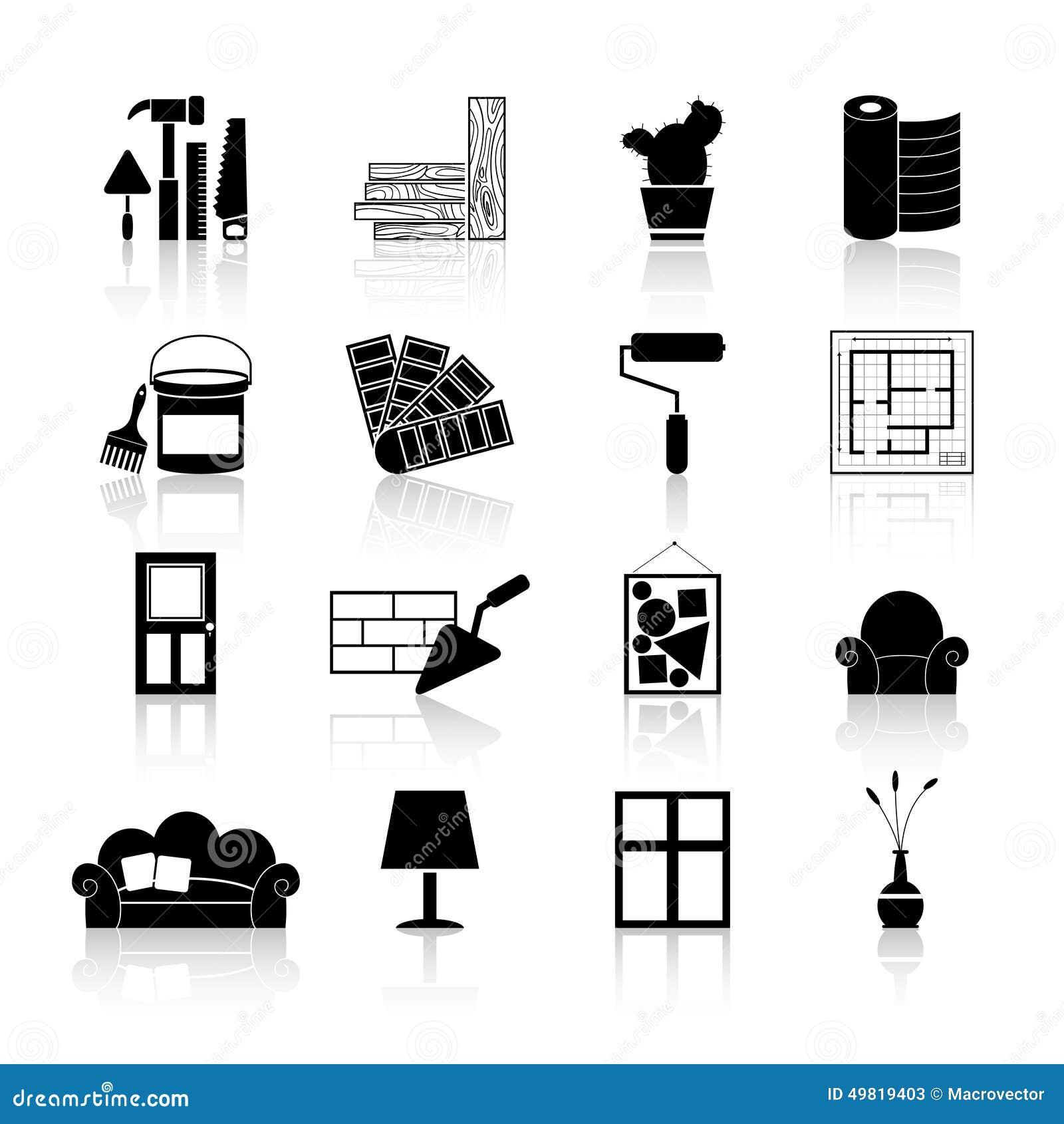 Interior Design Line Art Vector : Interior design icons black stock vector image