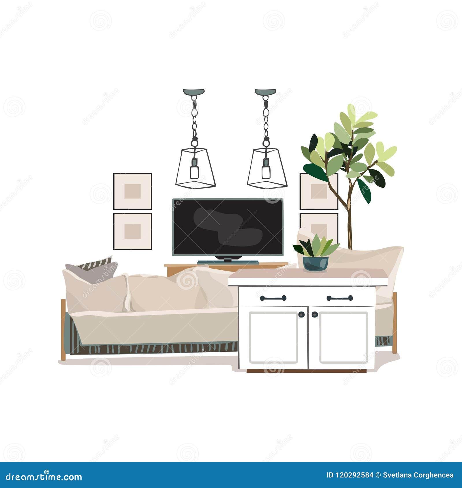 Interior Design Illustration. Modern White Living Room ...