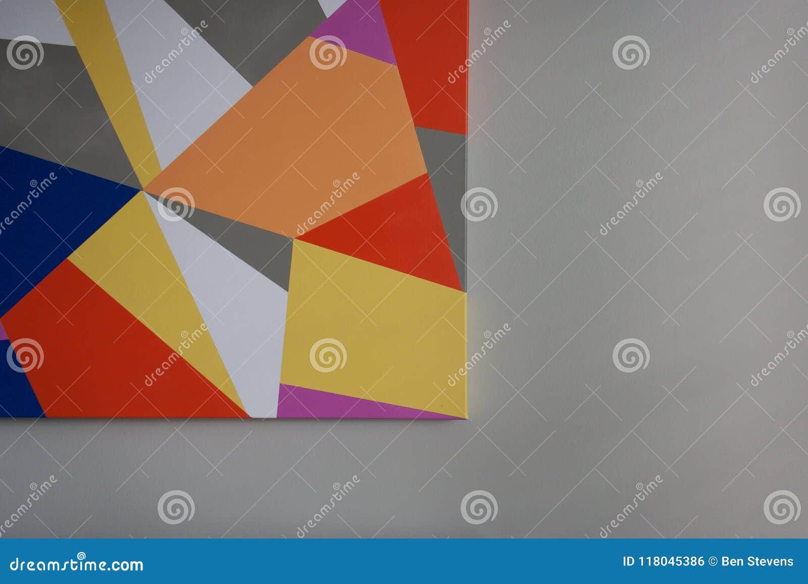 ef157d8fd70 Interior design image of geometric art print against a gray wall