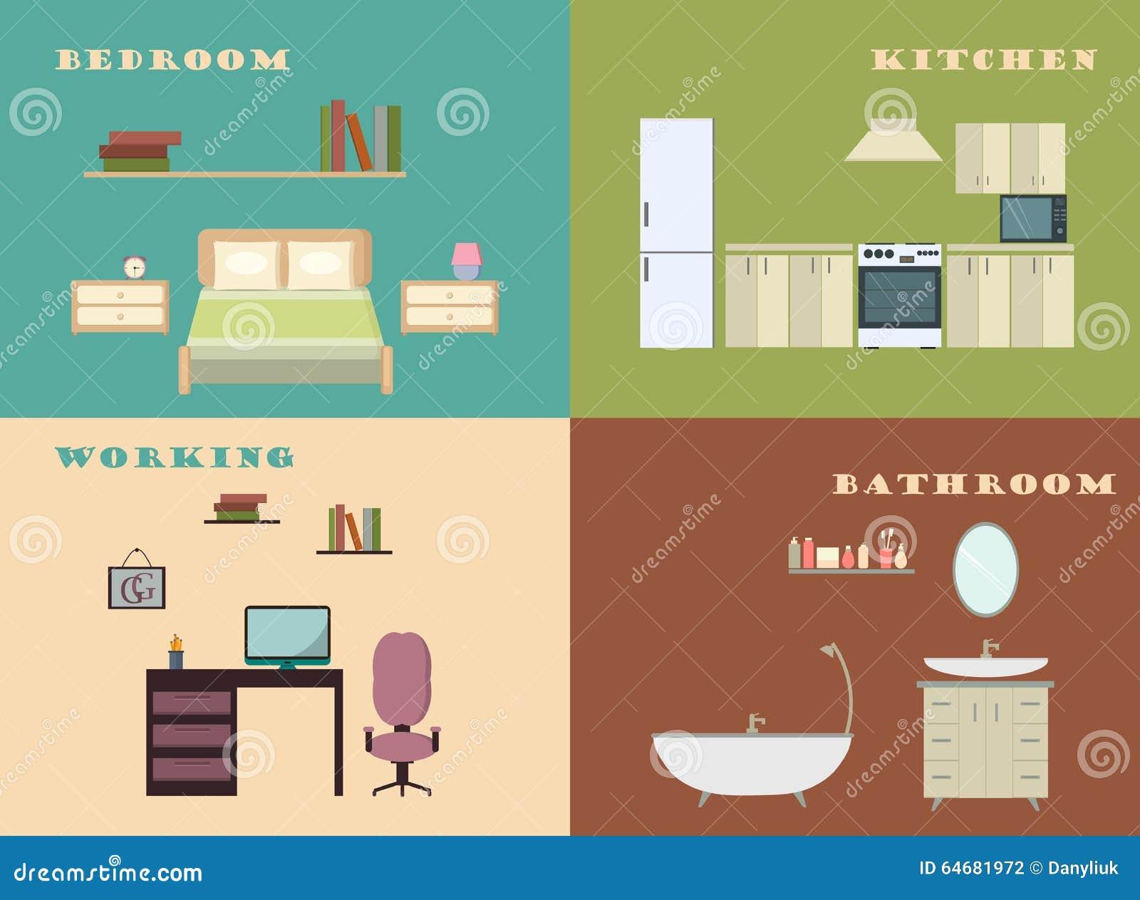 Architecture Design Elements Flat Illustration Infographic Interior