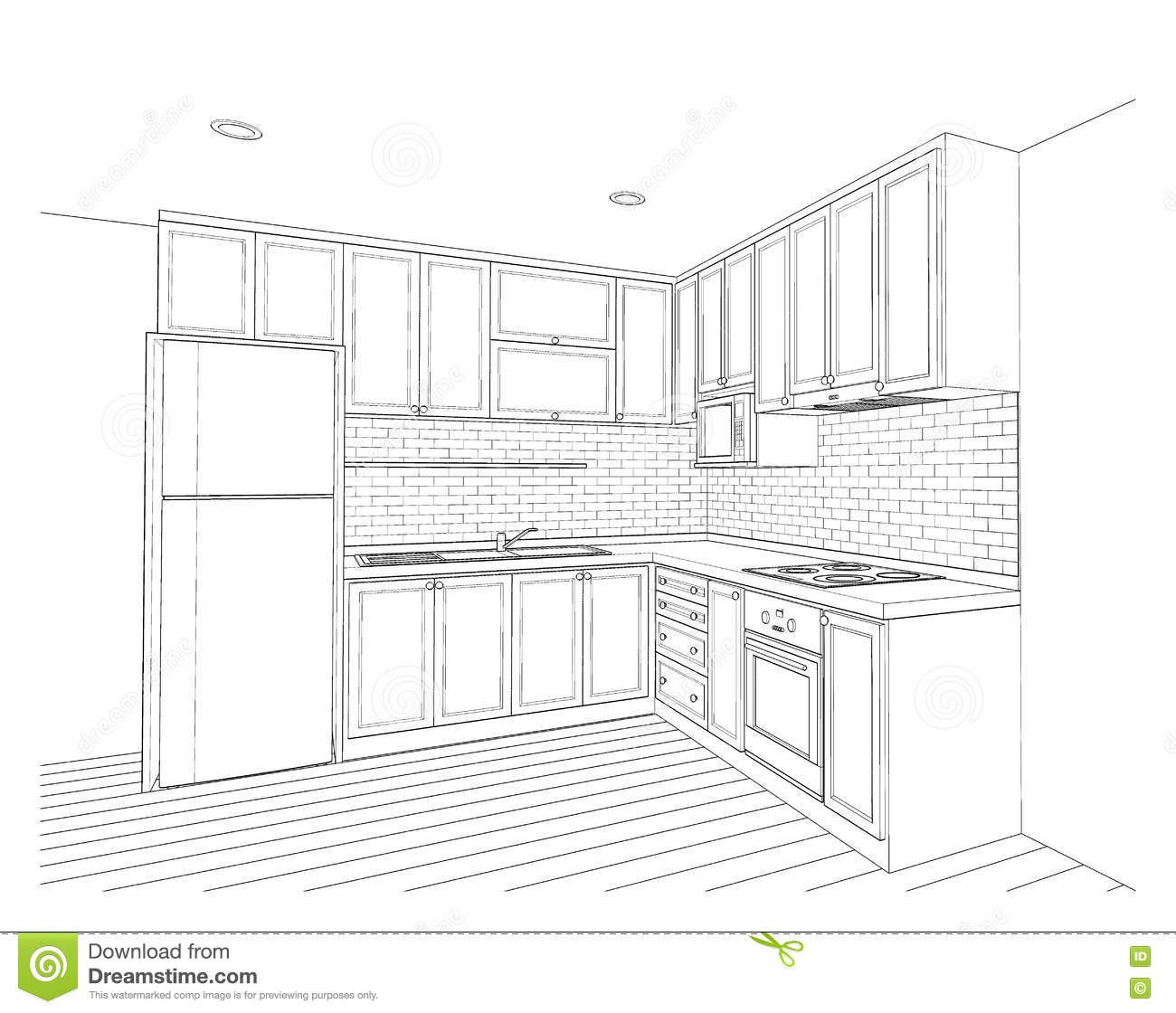 Interior design kitchen stock illustration image of for Decor outline