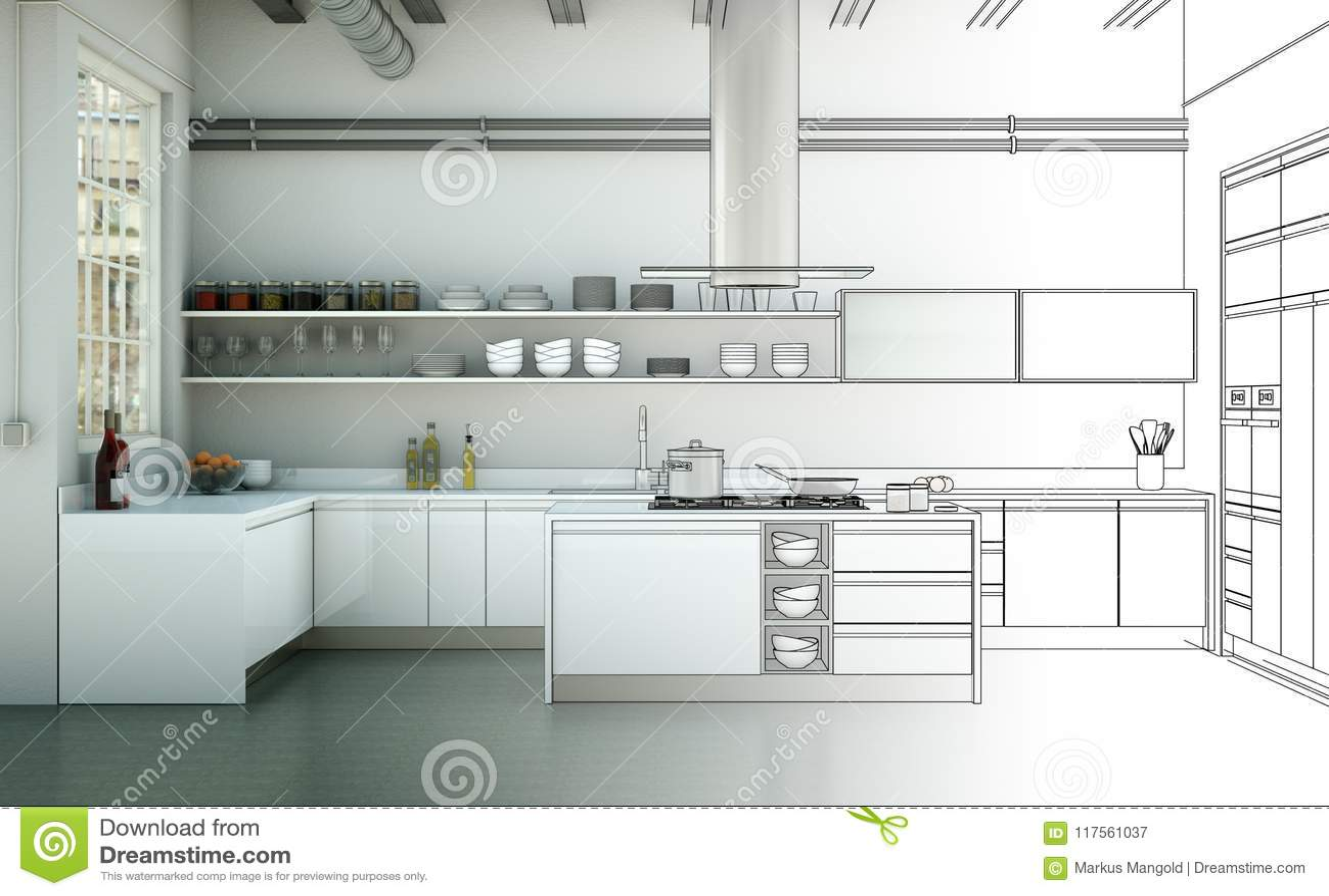 Interior Design Kitchen Drawing Gradation Into Photograph ...