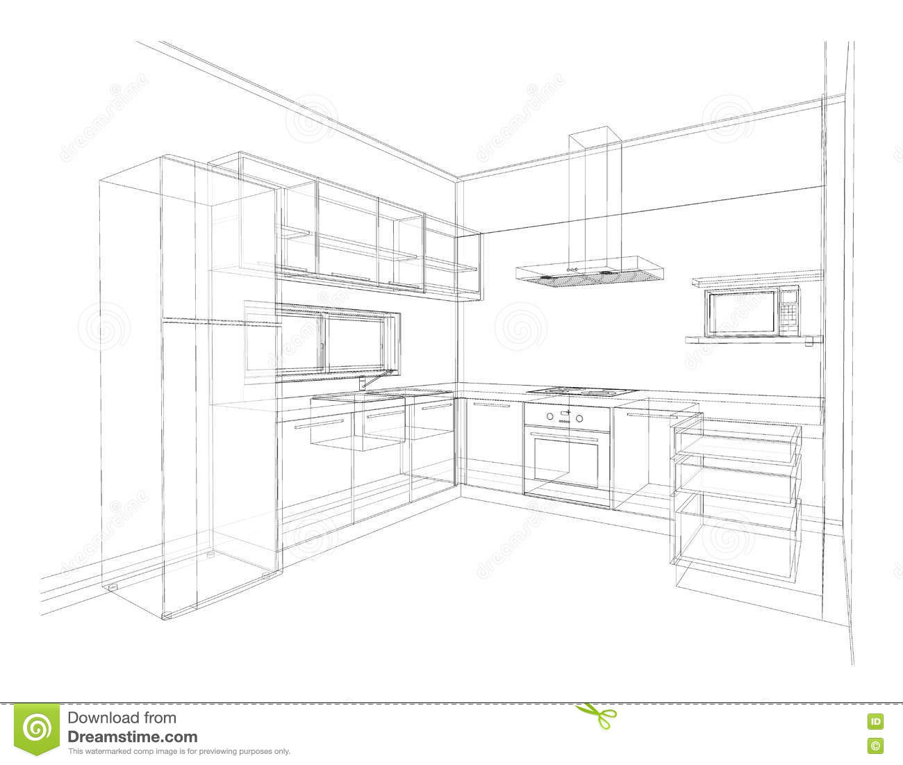 kitchen design easy drawing