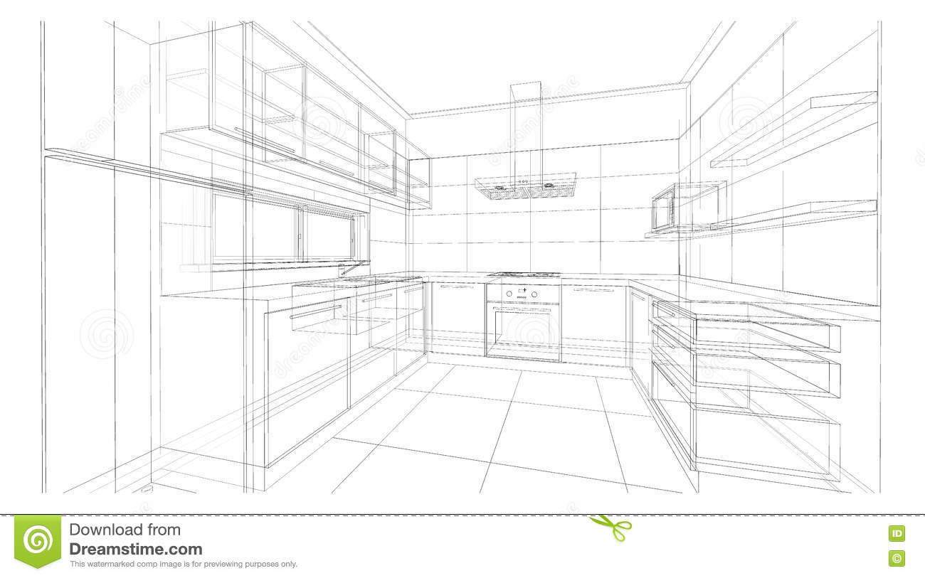 Interior Design Kitchen Stock Illustration Illustration Of Design - Modern-designer-kitchens-plans