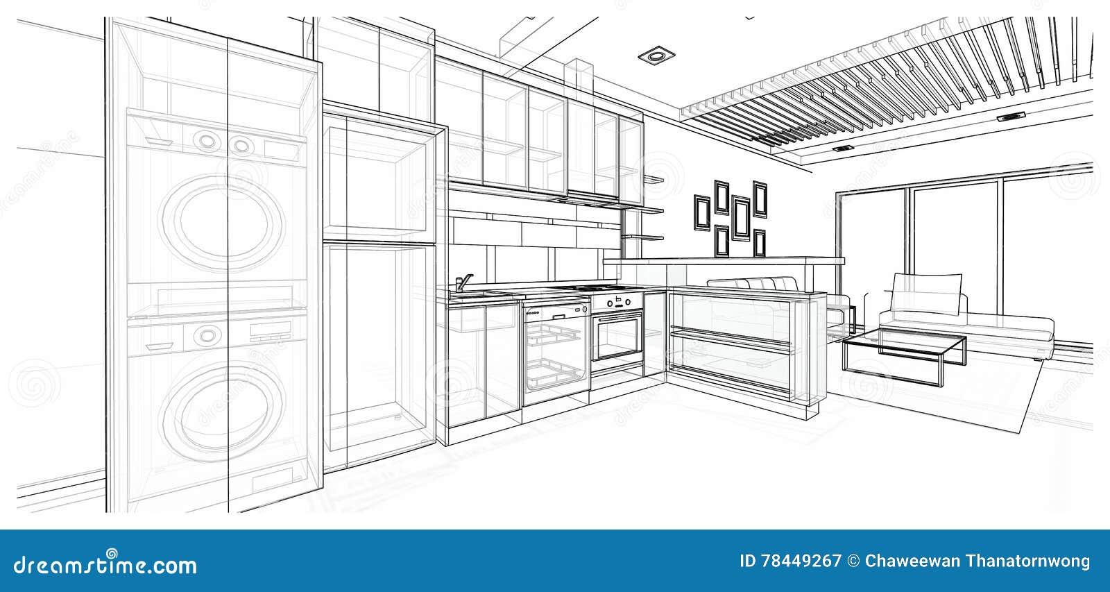 Interior Design Kitchen Stock Illustration Illustration Of House