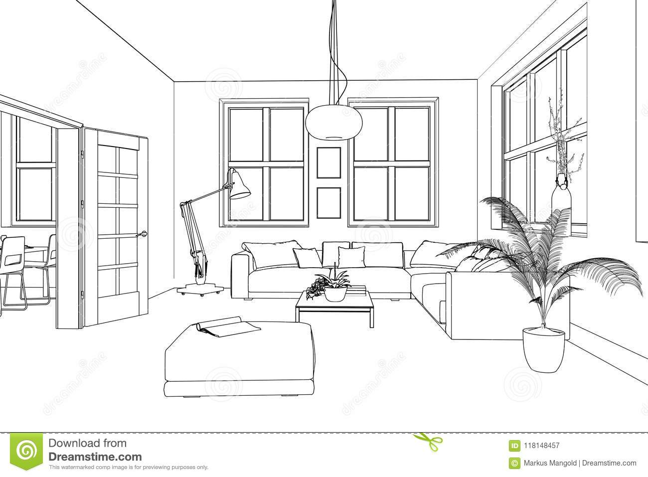 Interior Design Living Room Custom Drawing Stock Illustration