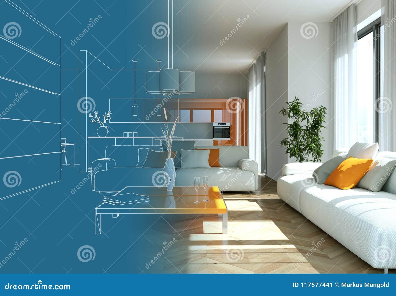 Download Interior Design Living Room Drawing Gradation Into Photograph Stock Illustration