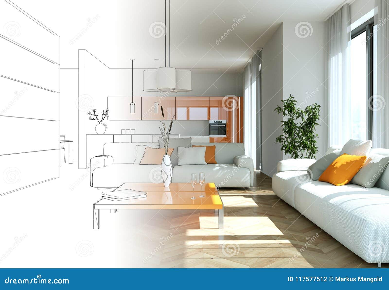 Interior Design Living Room Drawing Gradation Into Photograph Stock