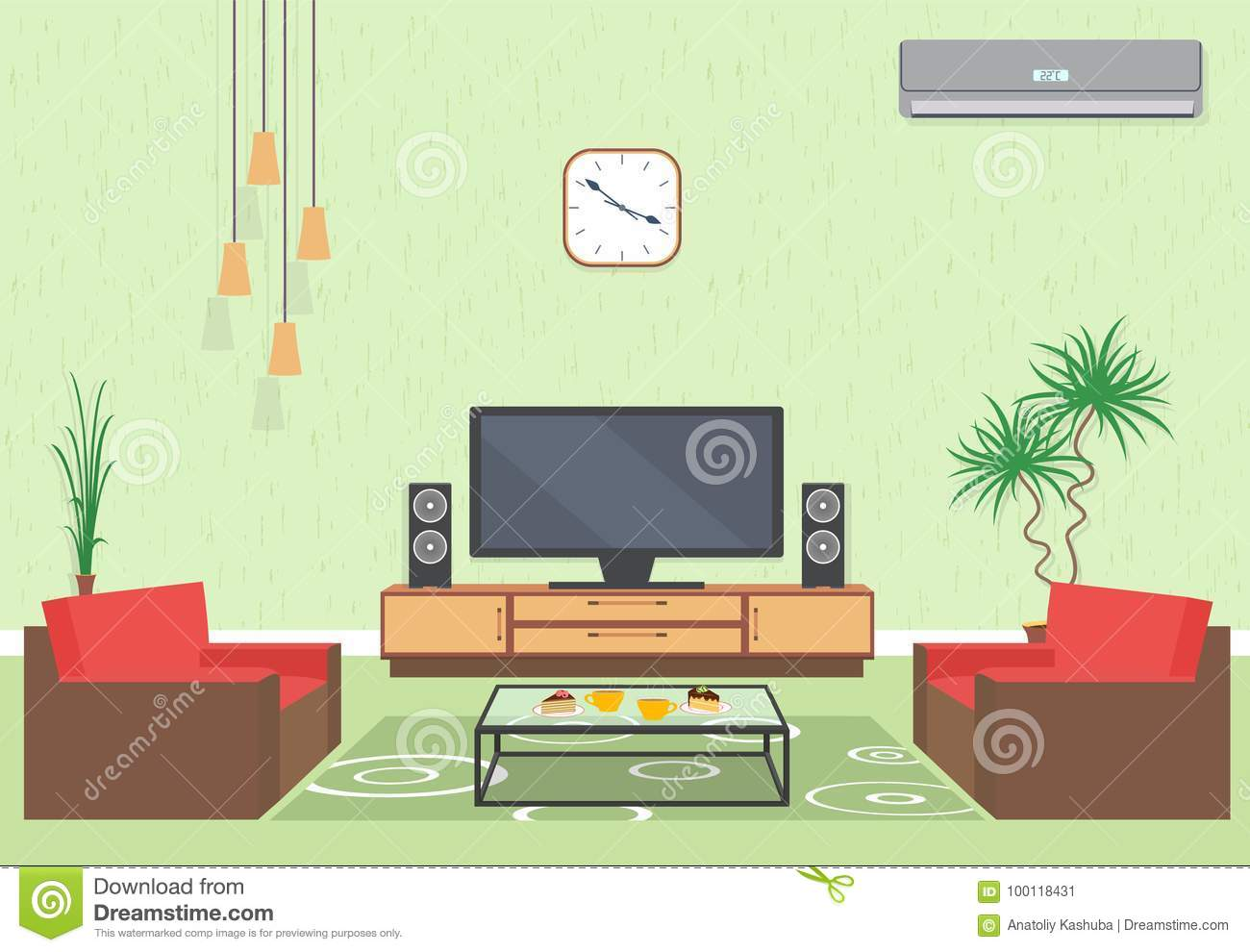 Interior Design Of Living Room In Flat Style With Furniture Sofa Table Tv Flower Air Conditioning And Clock Stock Vector Illustration Of Family Live 100118431