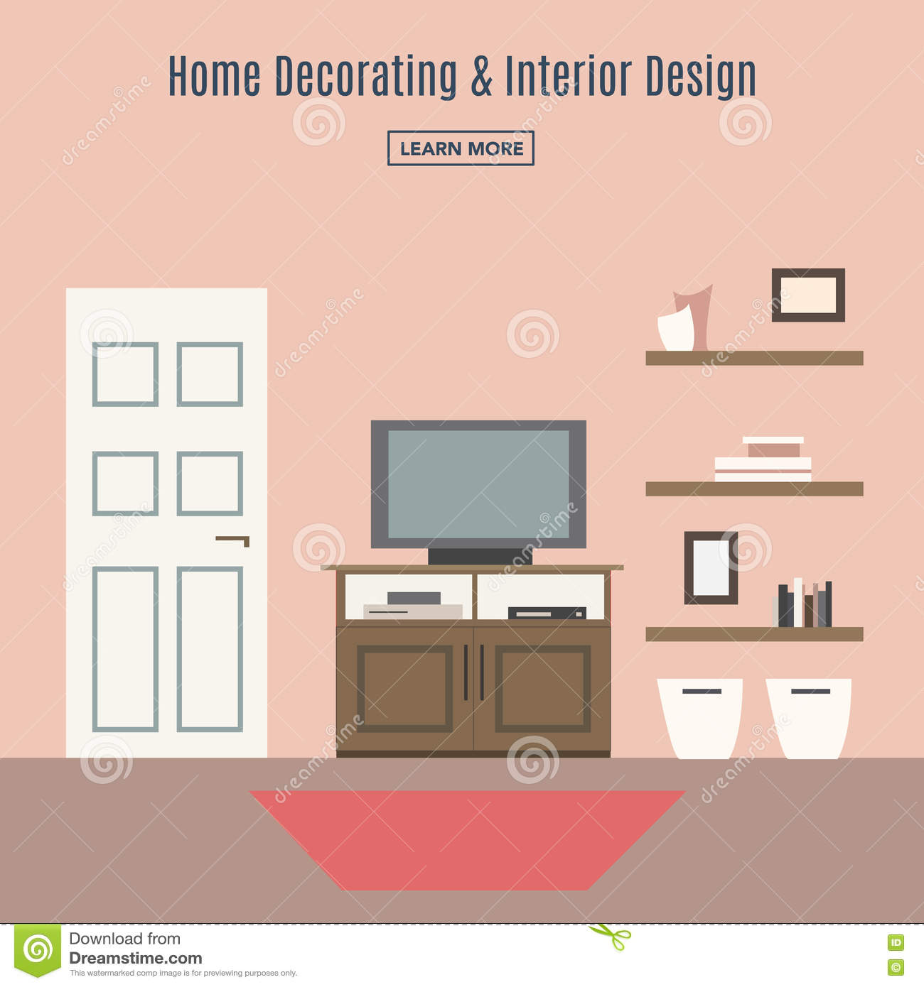 Living Room Interior Design Infographic Template Vector Illustration 91837900