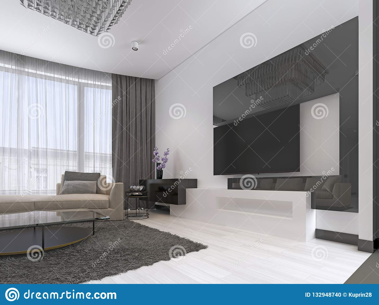Interior design living room with a large corner sofa and a tv unit in contemporary