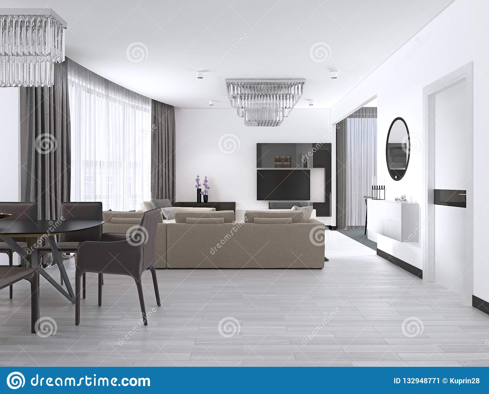Interior Design Living Room With A Large Corner Sofa And A Tv Unit