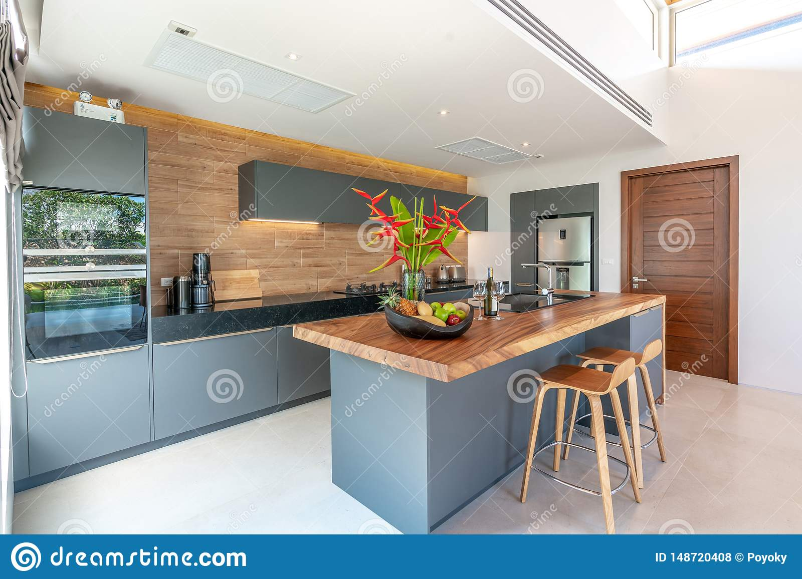 Interior Design In Living Room And Open Kitchen Area With Dining Table Stock Photo Image Of Decoration Kitchen 148720408