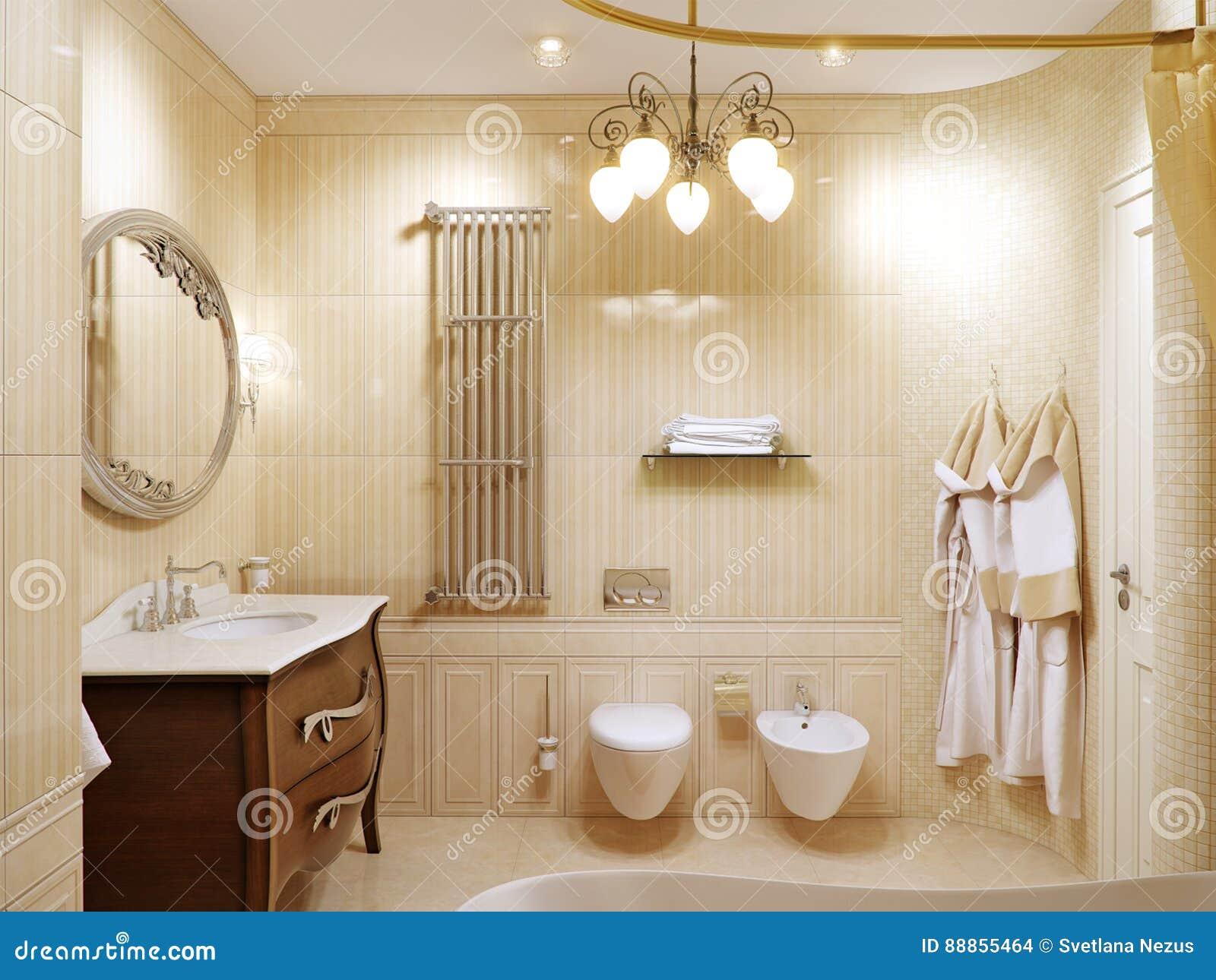 Interior design lussuoso del bagno nello stile classico