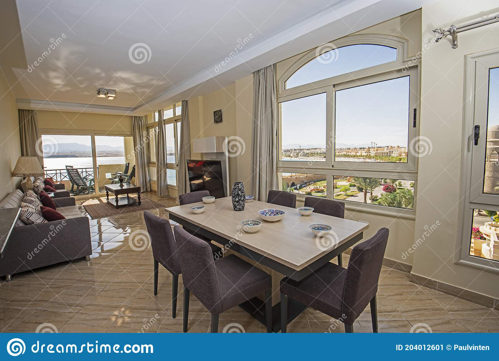 Interior Design Of Luxury Apartment Living Room With Balcony Stock Image Image Of Curtain Architecture 204012601