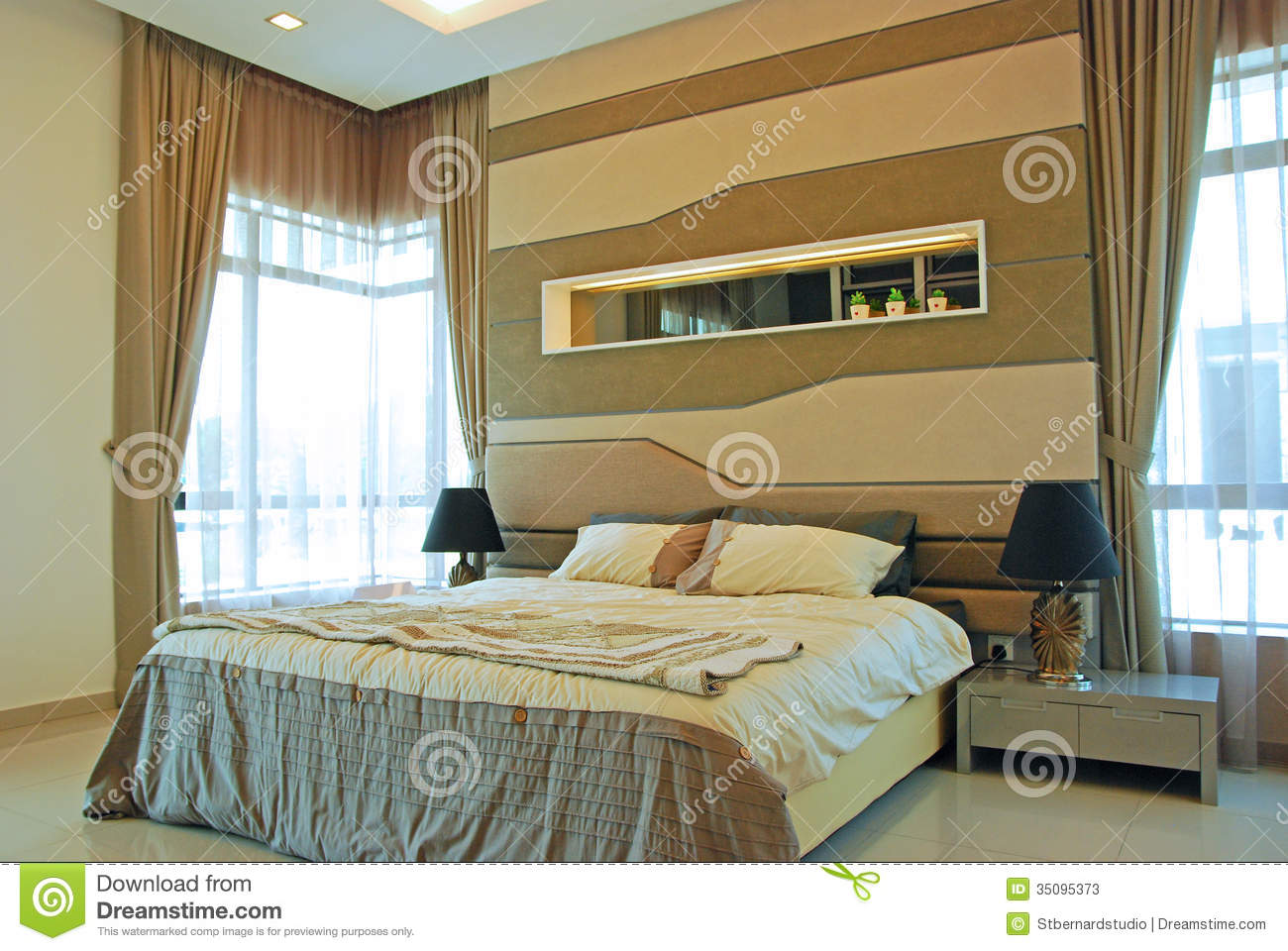 Interior design of master bedroom stock image image for Small double bedroom ideas