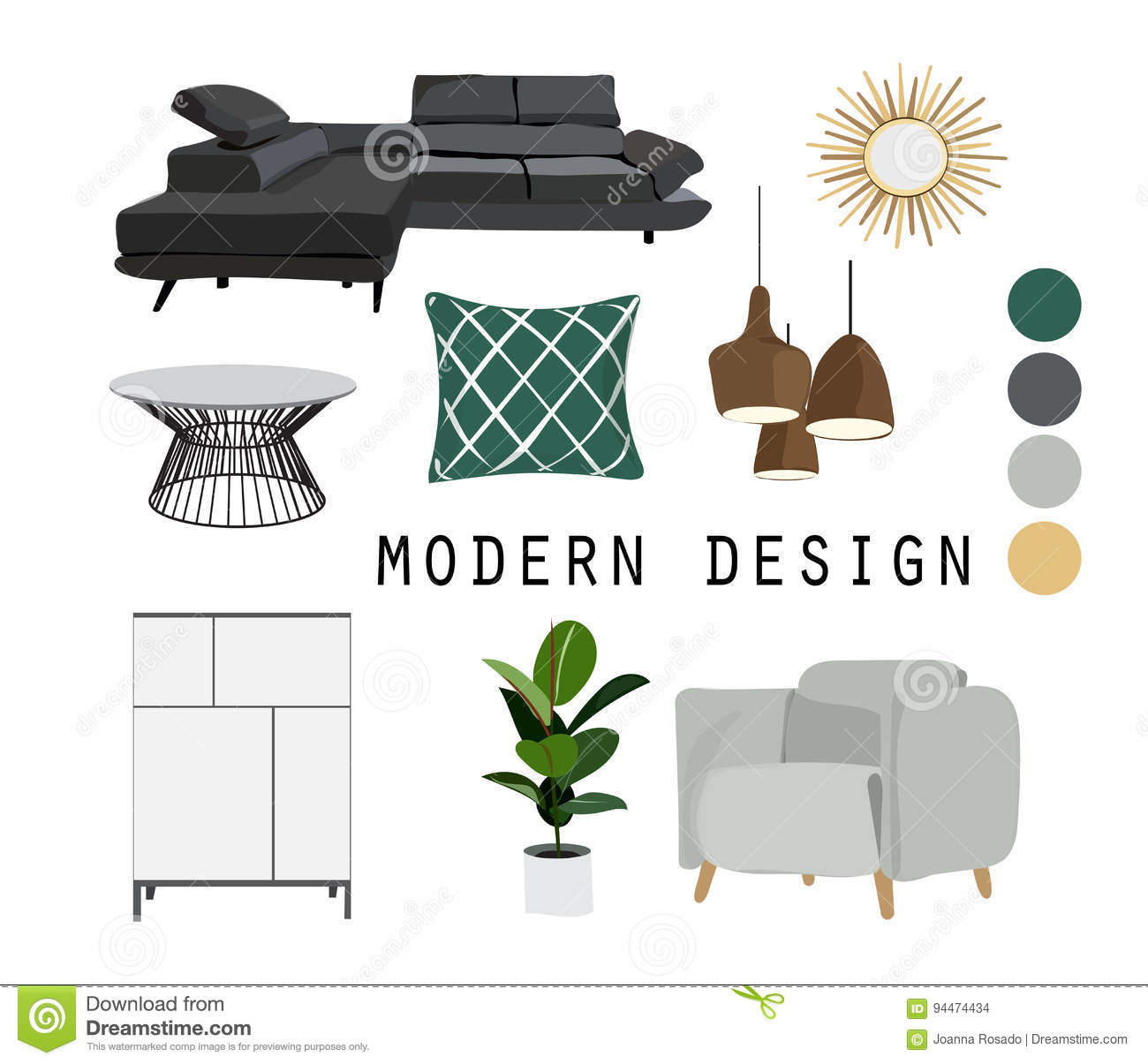interior design mid century modern furniture vector