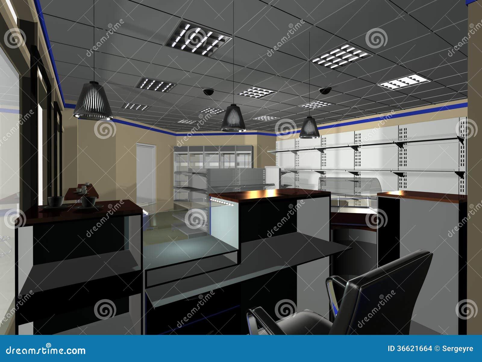 Interior design minimarket stock images image 36621664 for Gas agency interior design