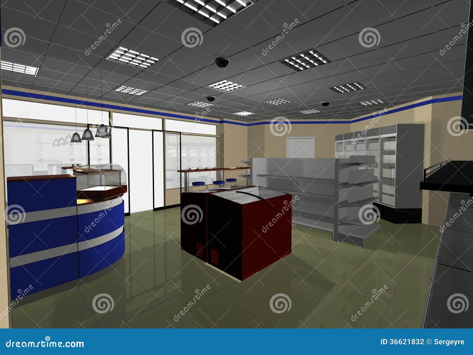 Interior design minimarket stock illustration for Mini market interior design ideas